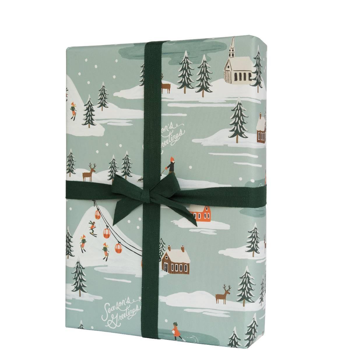 Rifle Paper Co. Vánoční balicí papír Snowscene, modrá barva, papír