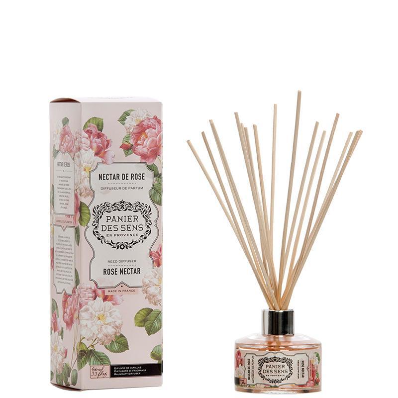 Panier des Sens Vonný difuzér Rose Nectar 100ml, růžová barva, fialová barva, sklo