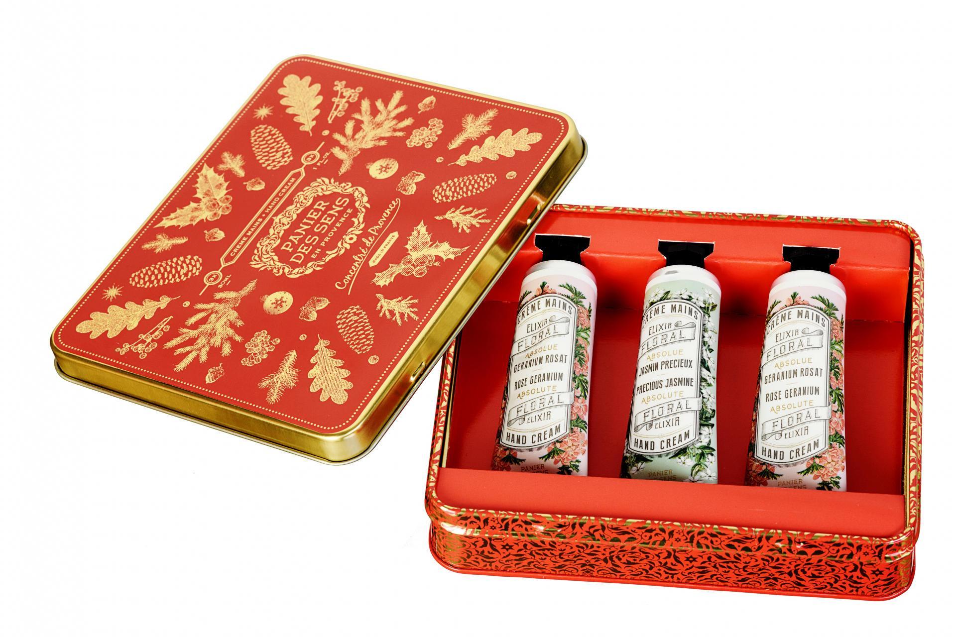 Panier des Sens Dárková sada mini krémů na ruce Christmas, červená barva, kov