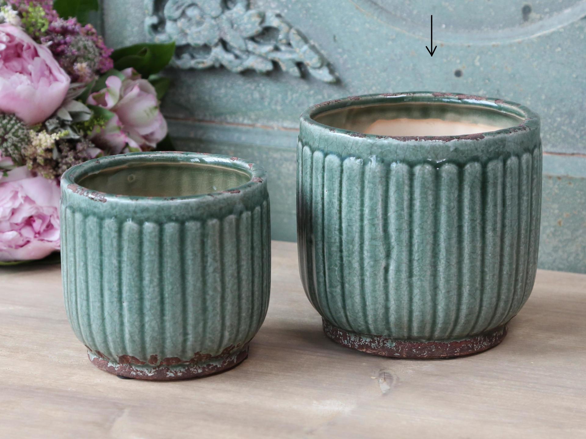 Chic Antique Obal na květiny Moss Green, zelená barva, keramika