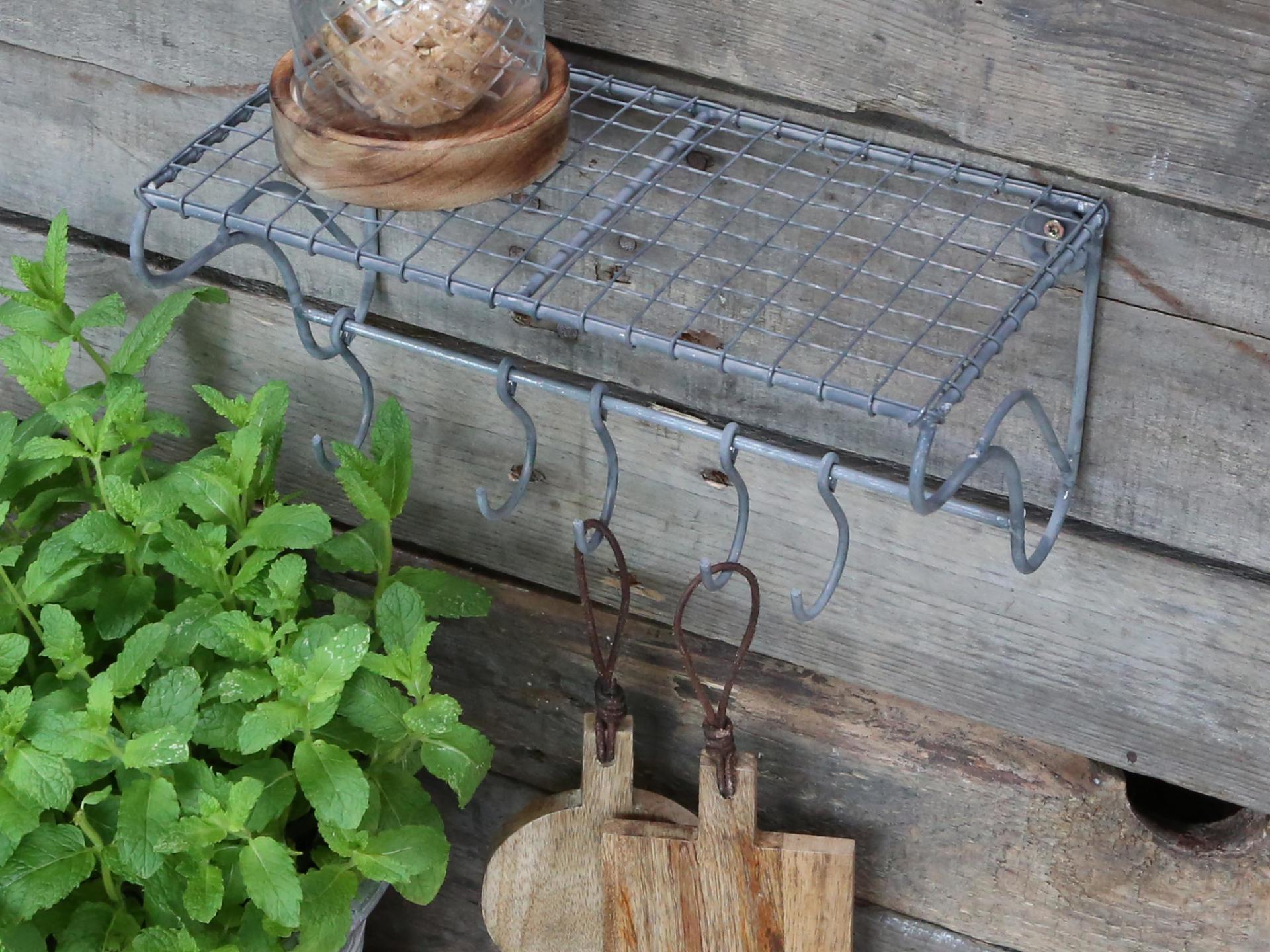 Chic Antique Kovová polička s háčky Antique, stříbrná barva, kov