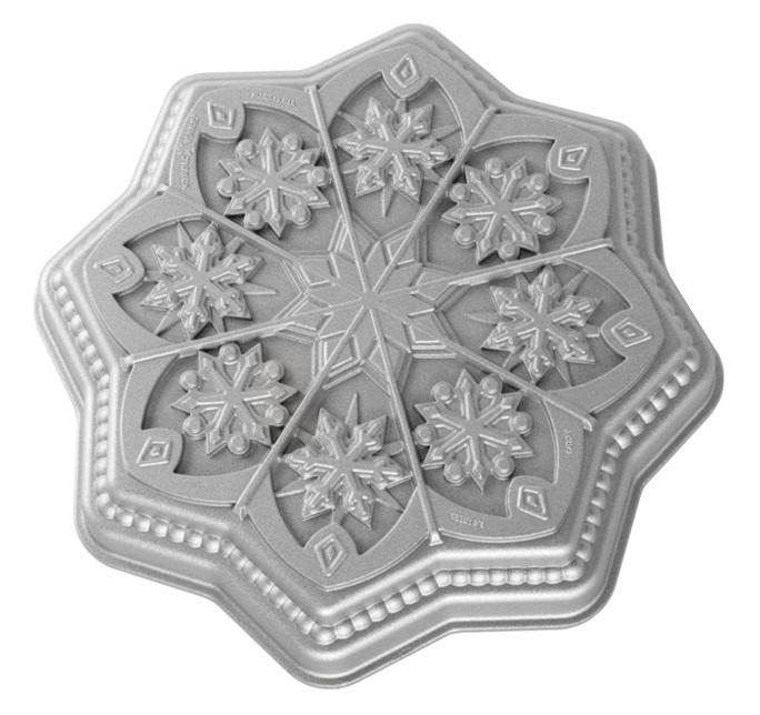 Nordic Ware Hliníková forma na pečení Sweet Snowflakes, šedá barva, kov