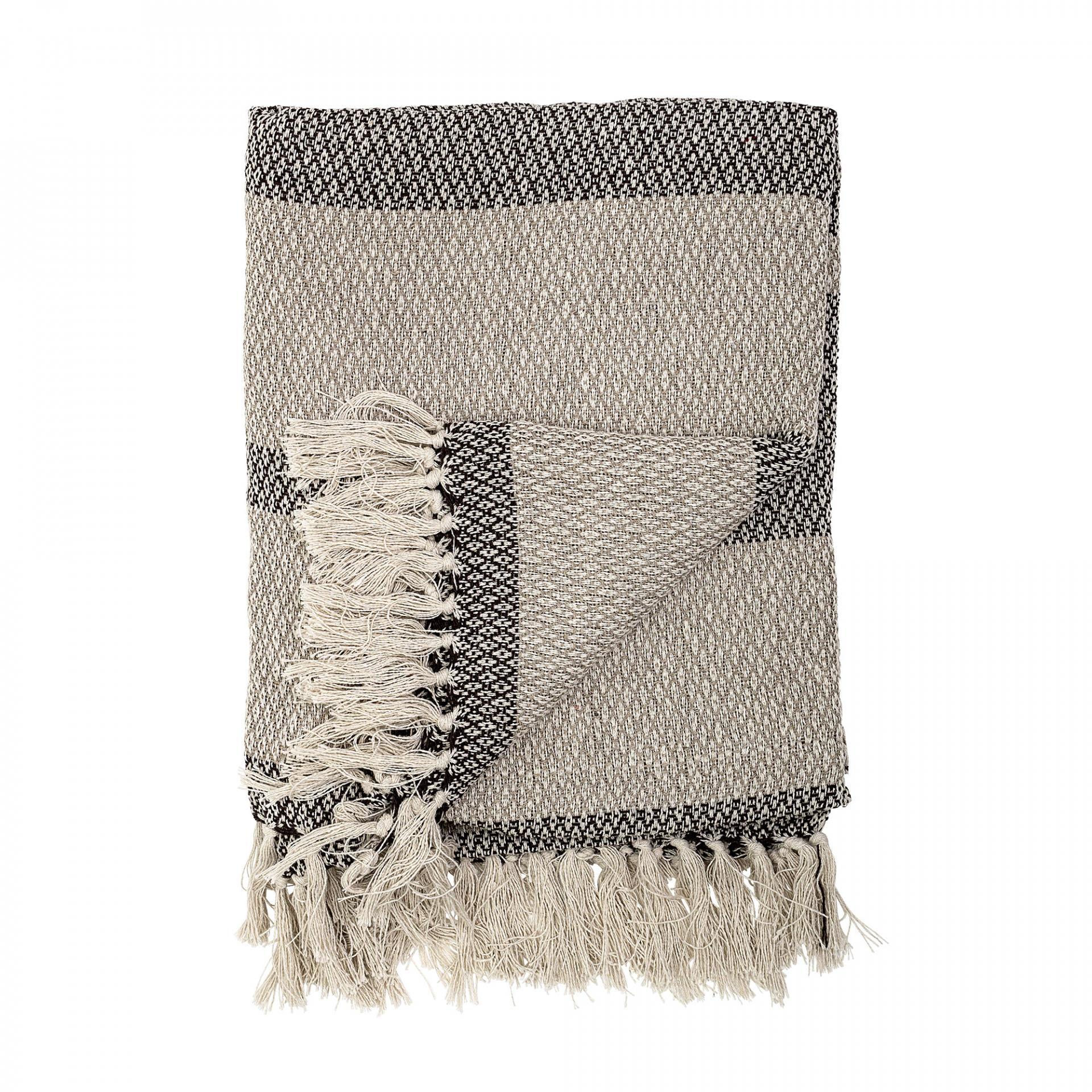 Bloomingville Bavlněný přehoz Grey, šedá barva, textil