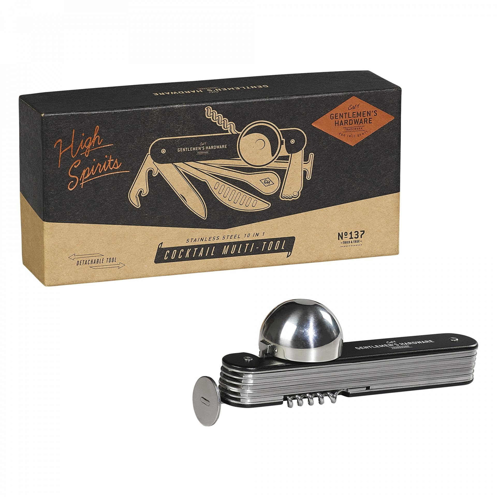 GENTLEMEN'S HARDWARE Multifunkční koktejlový nástroj 10v1, černá barva, kov
