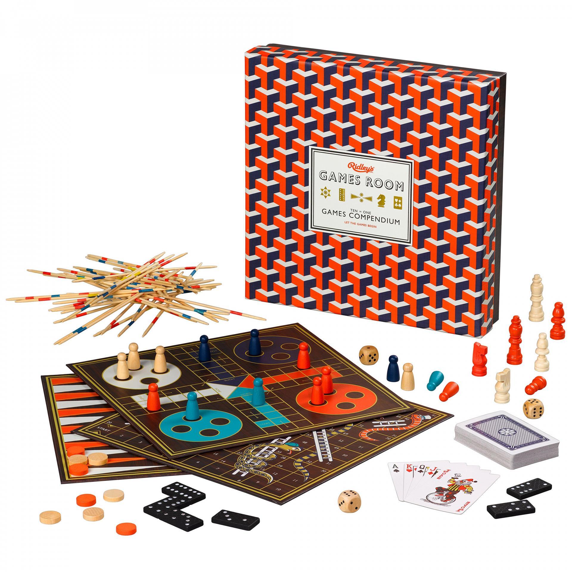 Ridley's Games Room Sada deskových her 10v1, červená barva, dřevo, papír