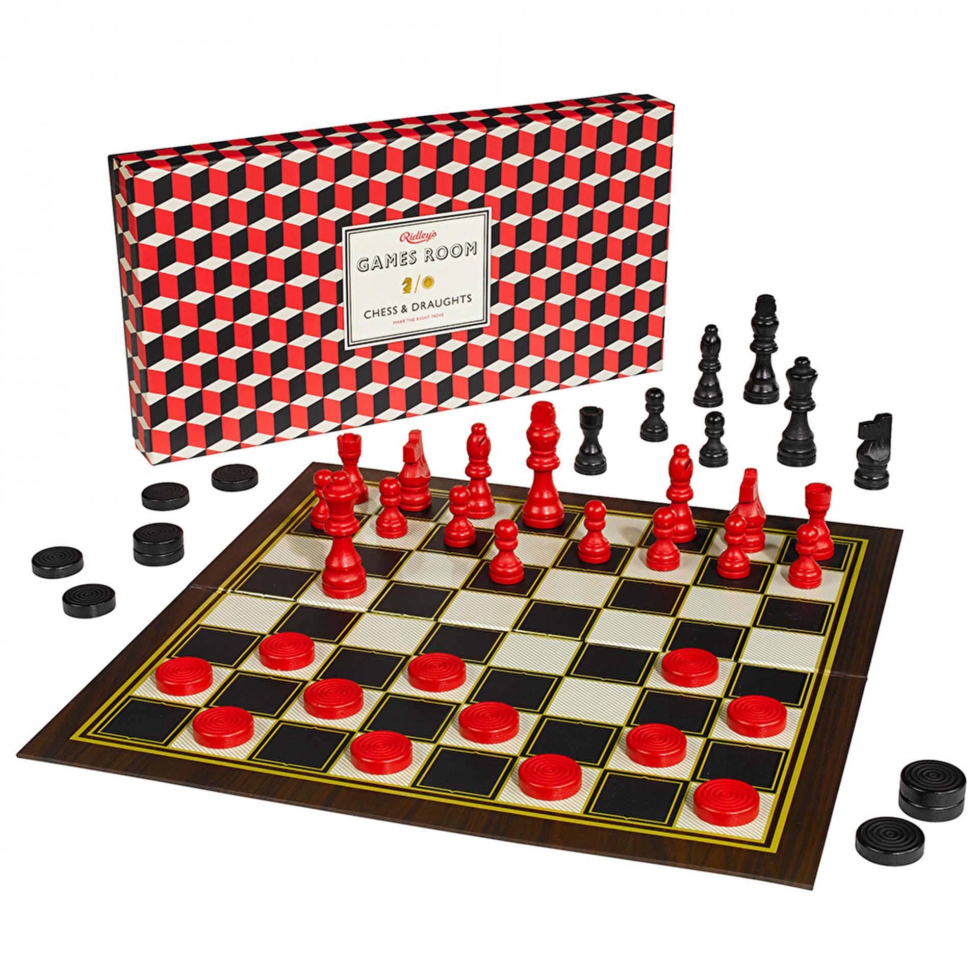 Ridley's Games Room Desková hra - šachy a dáma 2v1, červená barva, černá barva, dřevo, papír