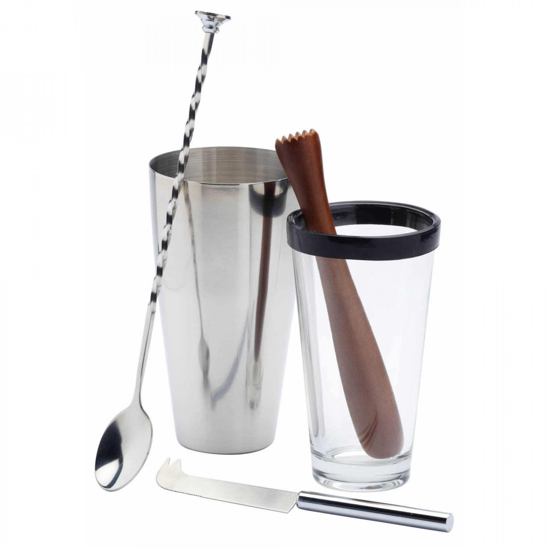 Kitchen Craft Sada kokejlového shakeru Mojito, stříbrná barva, sklo, kov