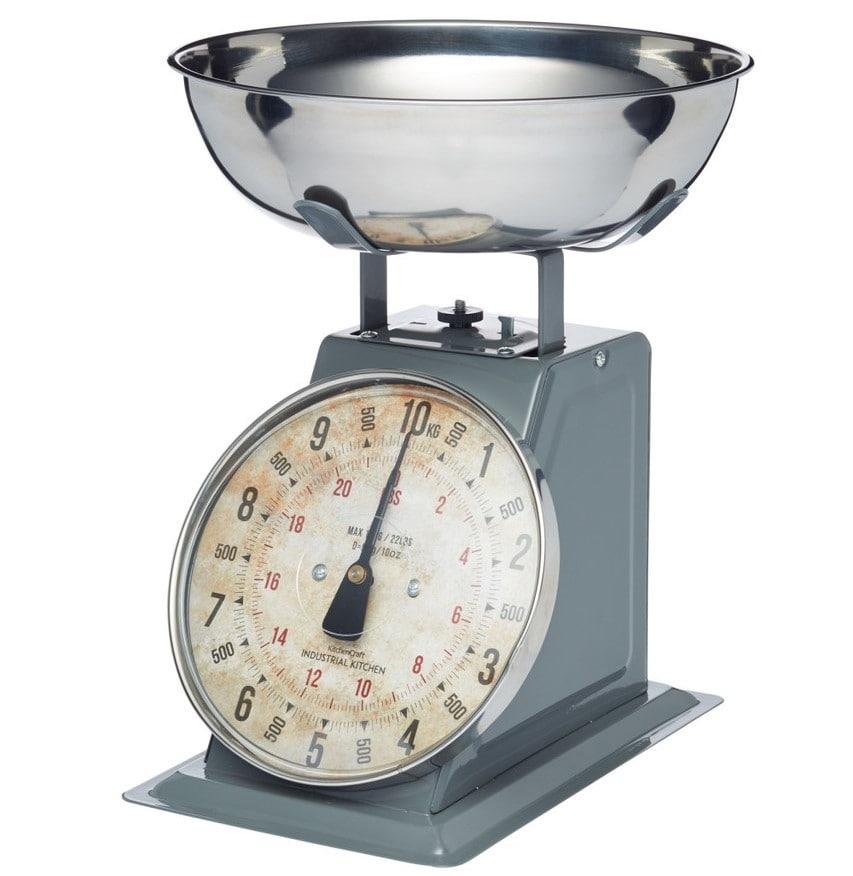 Kitchen Craft Mechanická kuchyňská váha Industrial - 10kg, šedá barva, kov