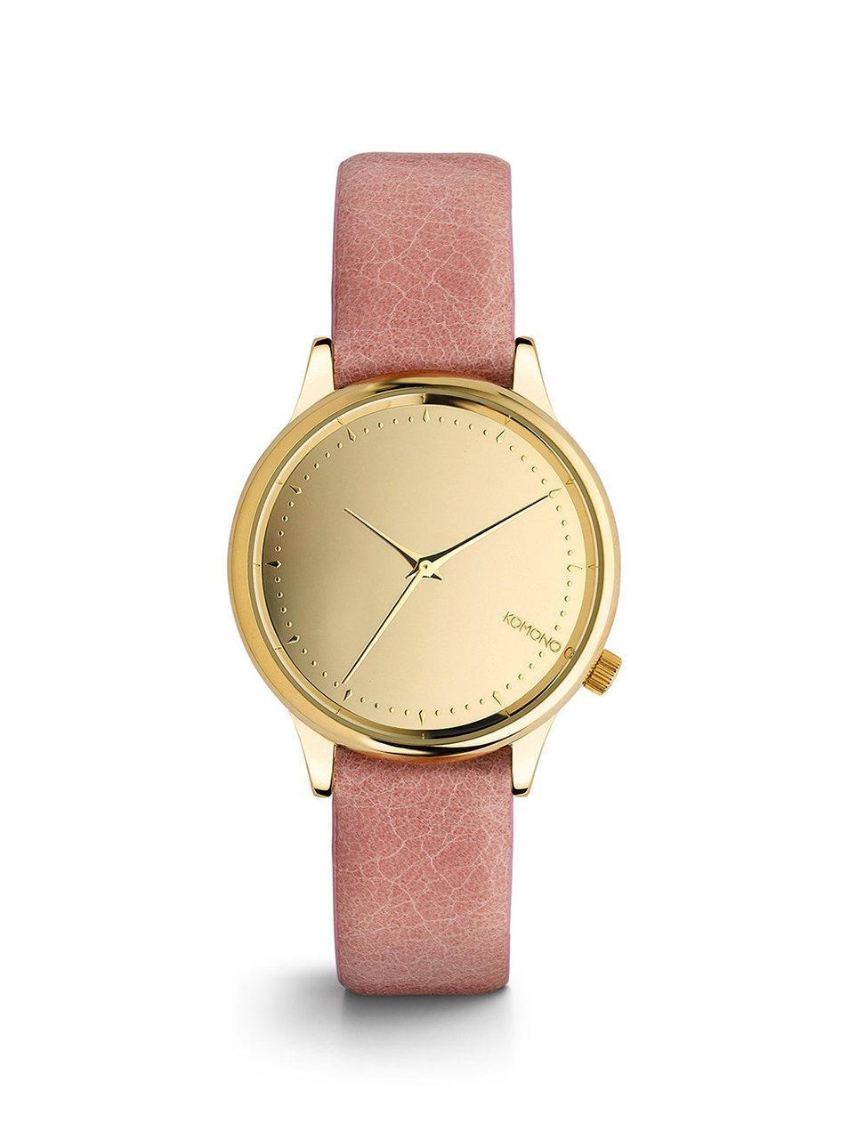 Komono Dámské hodinky Komono Estelle Mirror Blush, růžová barva, zlatá barva, kov, kůže