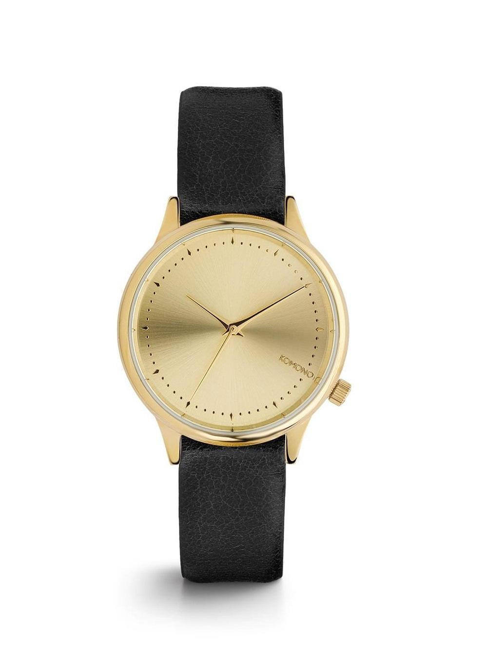 Komono Dámské hodinky Komono Estelle Black, černá barva, zlatá barva, kov, kůže