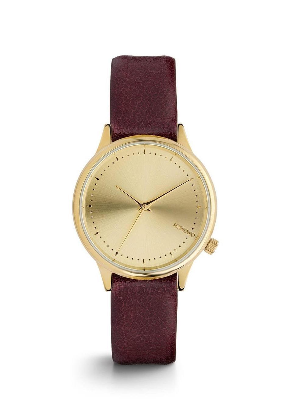 Komono Dámské hodinky Komono Estelle Burgundy, červená barva, zlatá barva, kov, kůže