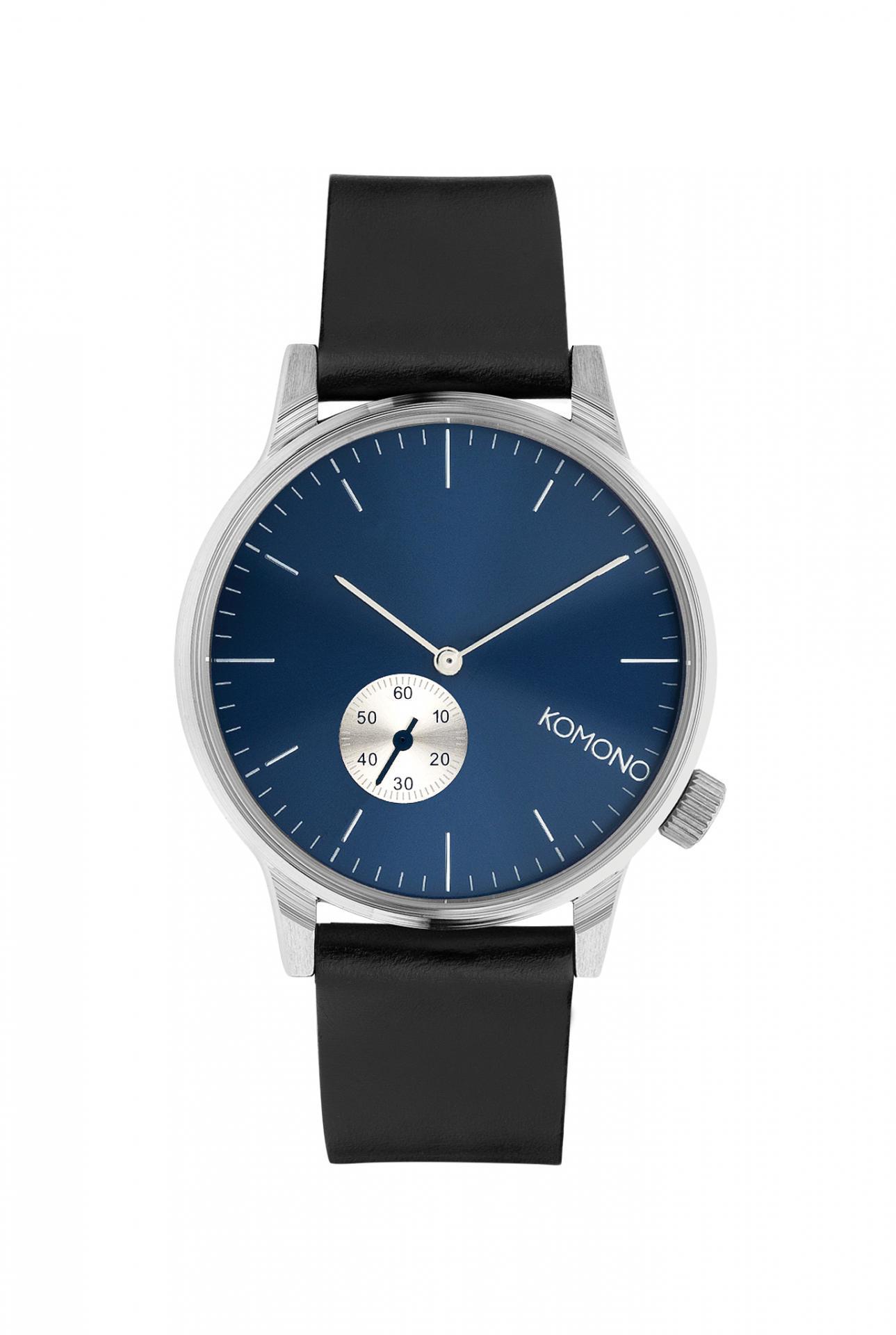 Komono Pánské hodinky Komono Winston Subs Silver Blue, modrá barva, černá barva, kov, kůže