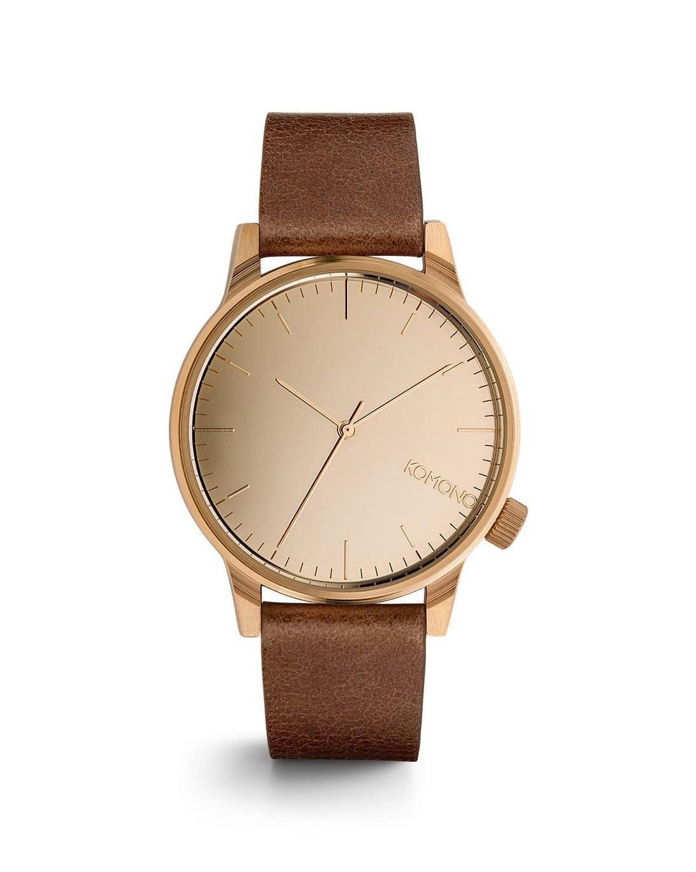 Komono Unisex hodinky Komono Winston Mirror Rose Gold-Cognac, hnědá barva, měděná barva, kov, kůže