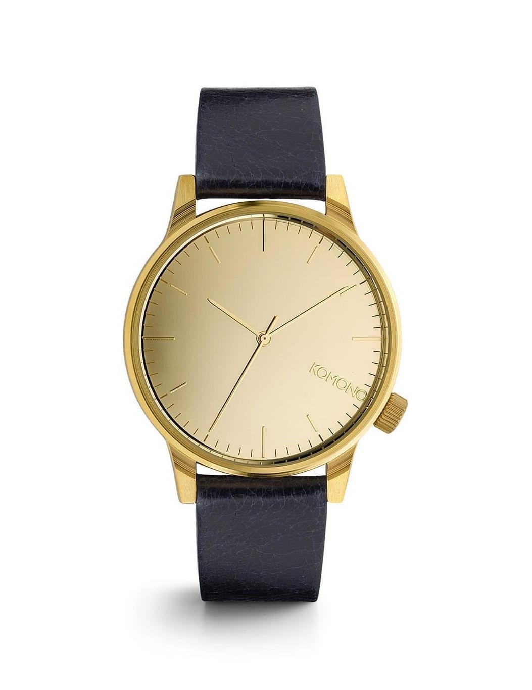 Komono Unisex hodinky Komono Winston Mirror Gold-Navy, modrá barva, zlatá barva, kov, kůže