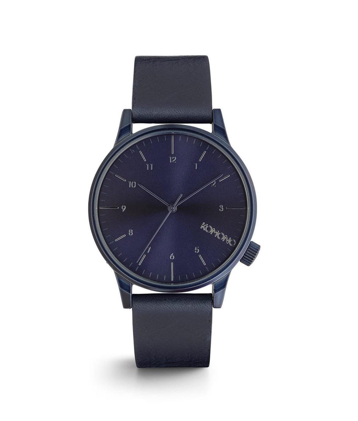 Komono Pánské hodinky Komono Winston Regal All Blue, modrá barva, kov, kůže