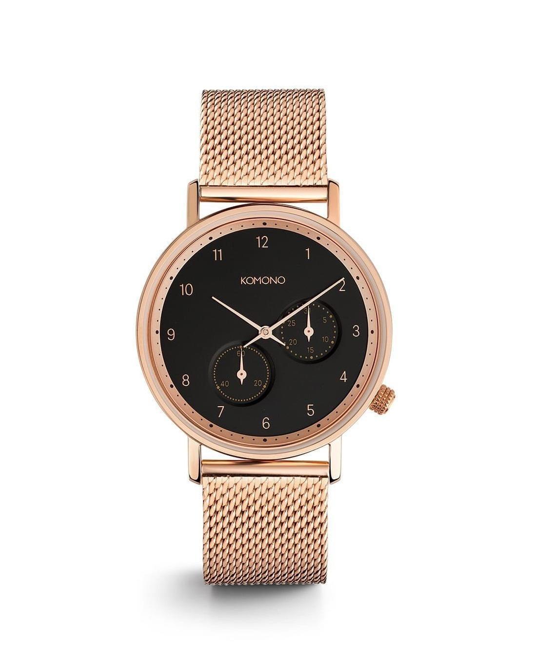 Komono Unisex hodinky Komono Walther Rose Gold Mesh, růžová barva, zlatá barva, kov