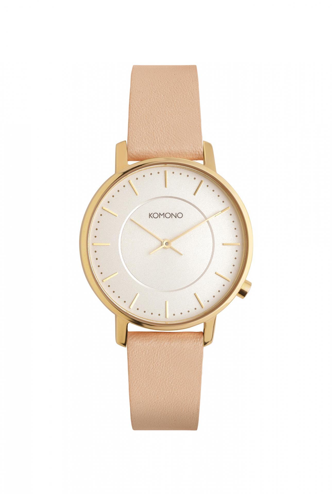 Komono Dámské hodinky Komono Harlow Pastel Cinnamon, béžová barva, zlatá barva, kov, kůže