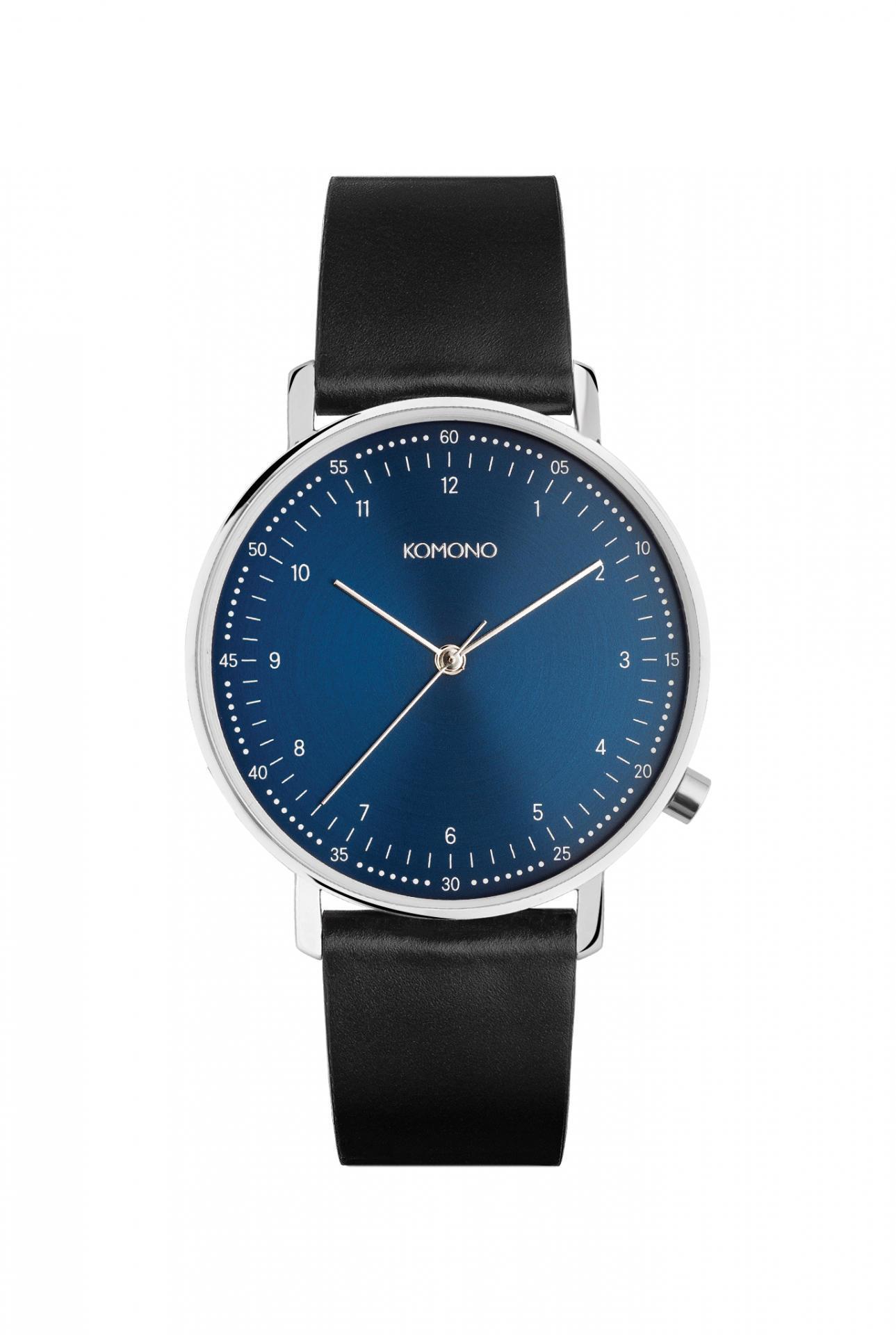 Komono Pánské hodinky Komono Lewis Blue, modrá barva, černá barva, kov, kůže