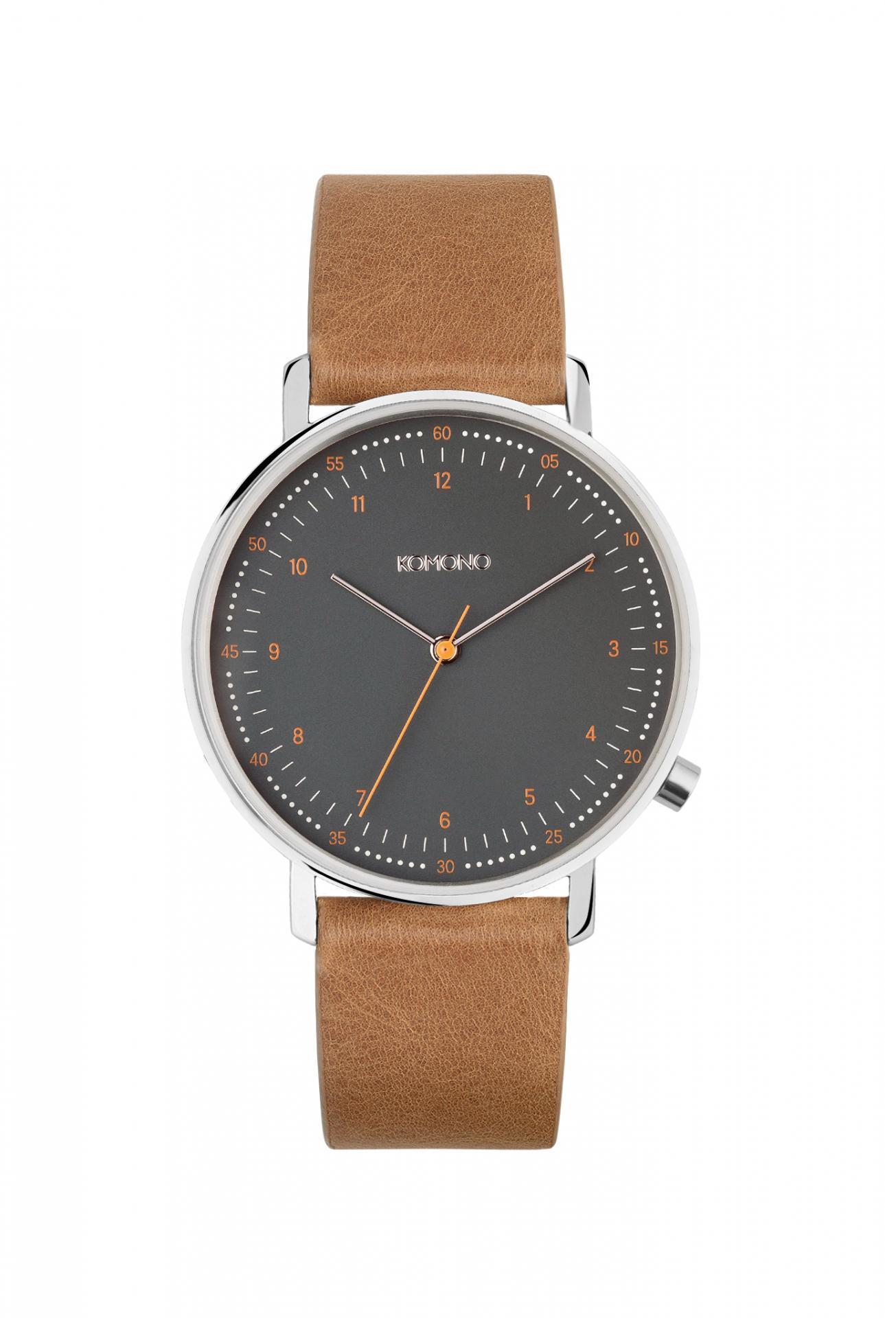 Komono Unisex hodinky Komono Lewis Cigar, hnědá barva, kov, kůže
