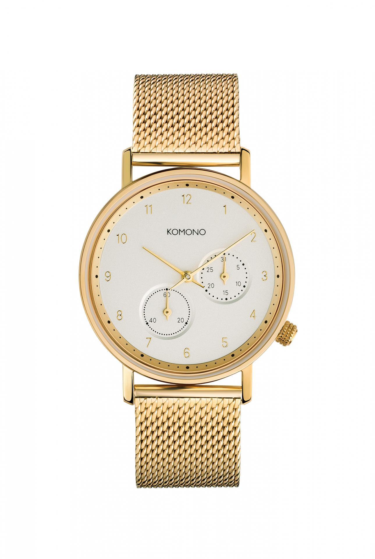 Komono Unisex hodinky Komono Walther Gold Mesh, zlatá barva, kov