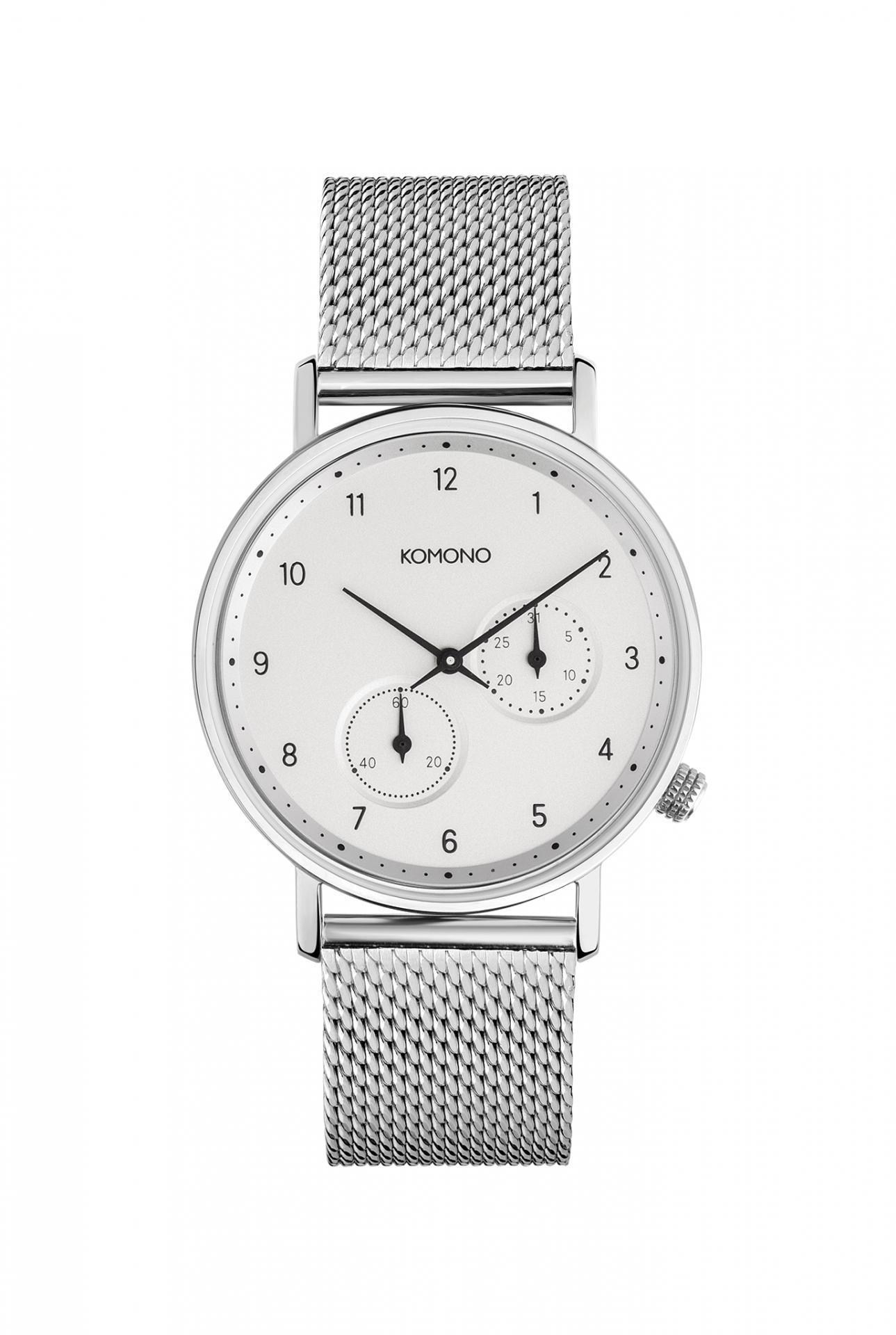 Komono Unisex hodinky Komono Walther Silver Mesh, stříbrná barva, kov