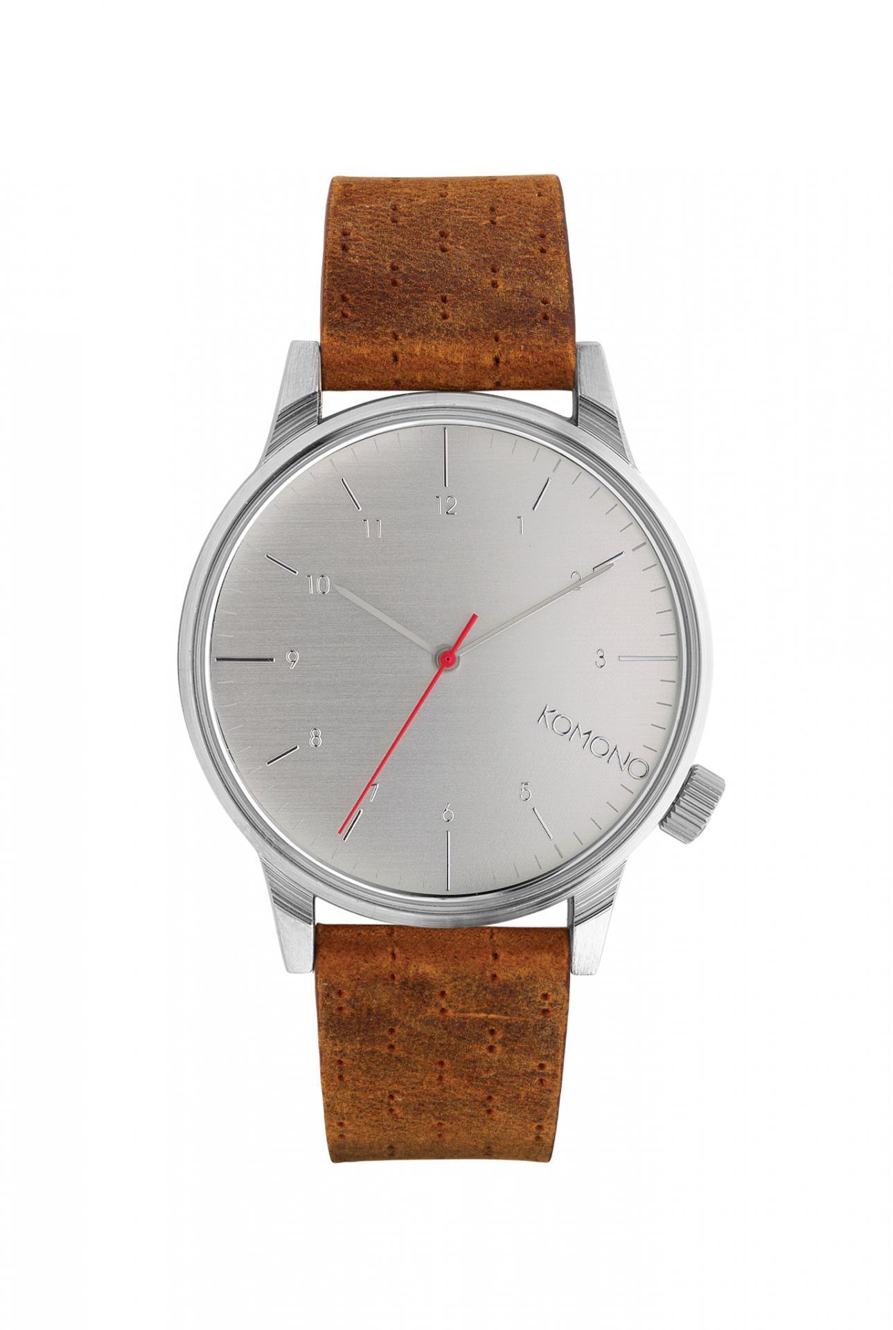 Komono Pánské hodinky Komono Winston Walnut, hnědá barva, kov, kůže