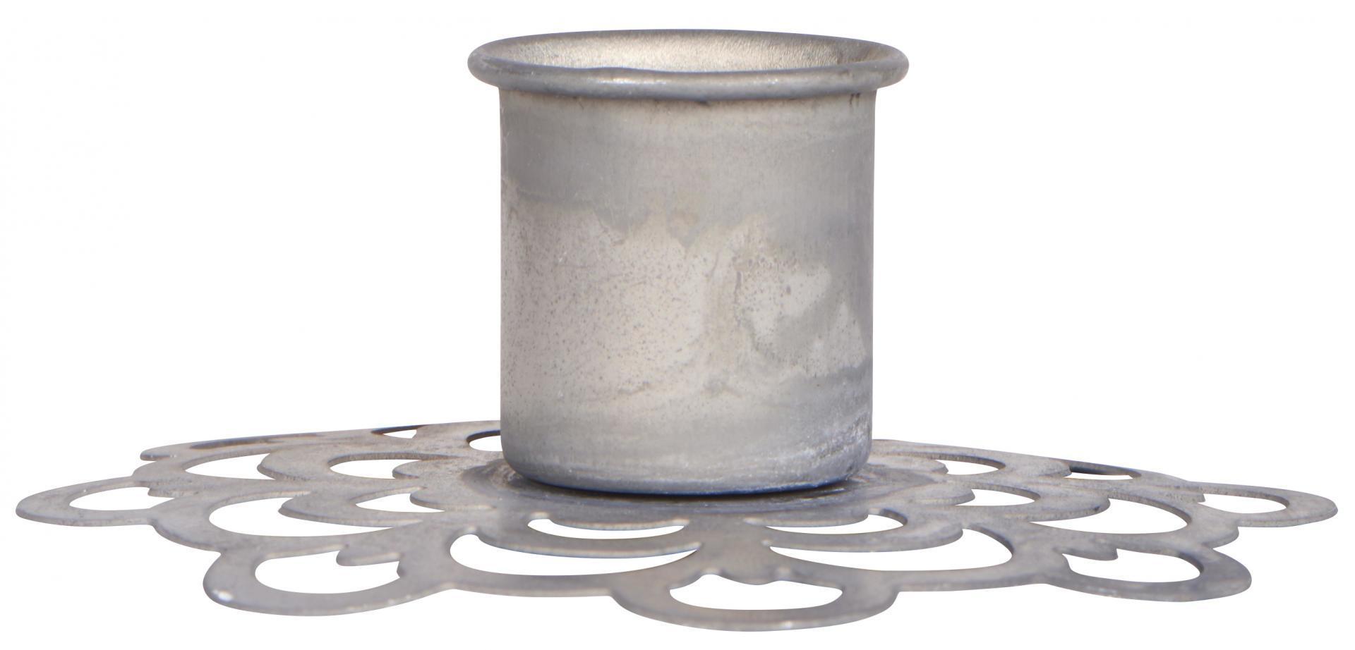 IB LAURSEN Kovový svícen Flower Pattern Grey, šedá barva, kov