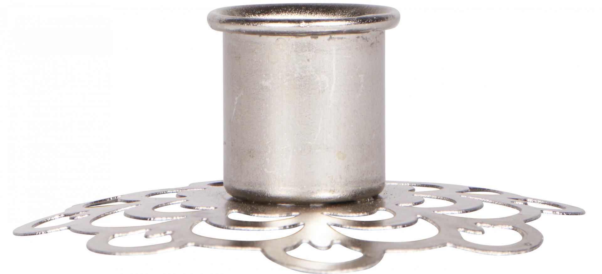 IB LAURSEN Kovový svícen Flower Pattern Silver, stříbrná barva, kov