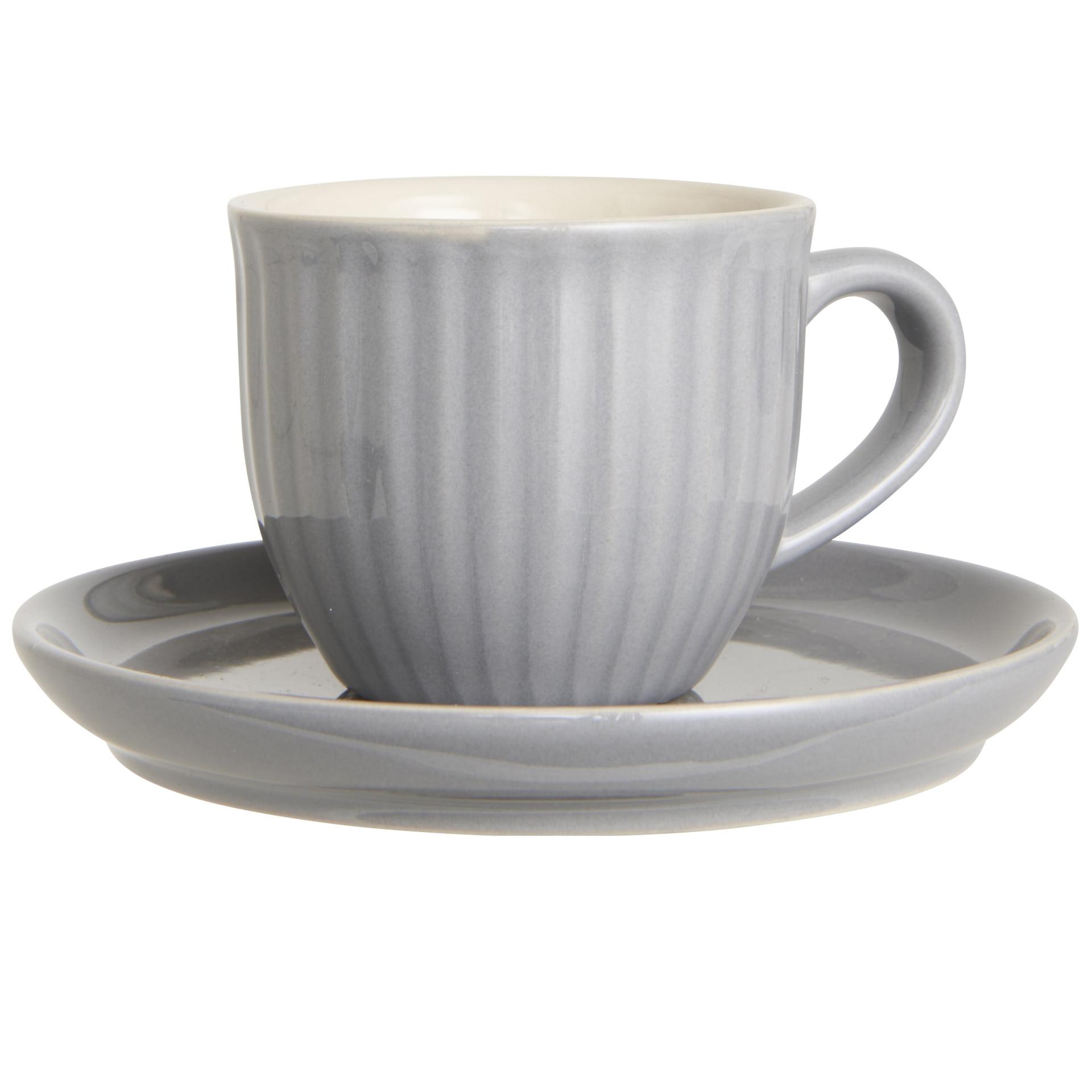 IB LAURSEN Šálek s podšálkem Mynte French Grey 135 ml, šedá barva, keramika