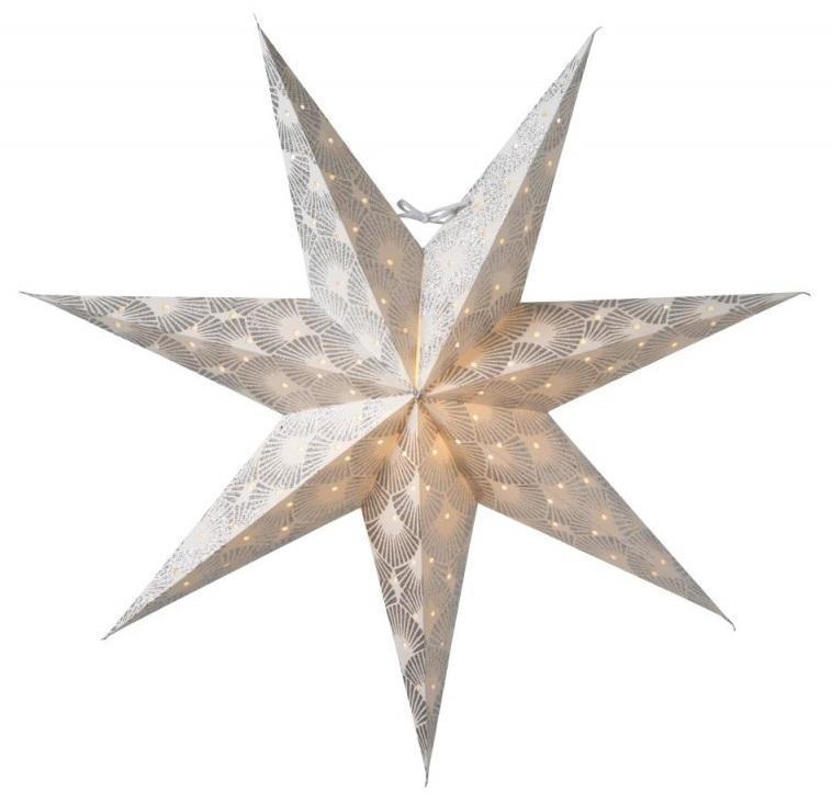 watt & VEKE Závěsná svítící hvězda Silvia White-Silver 60 cm, bílá barva, stříbrná barva, papír
