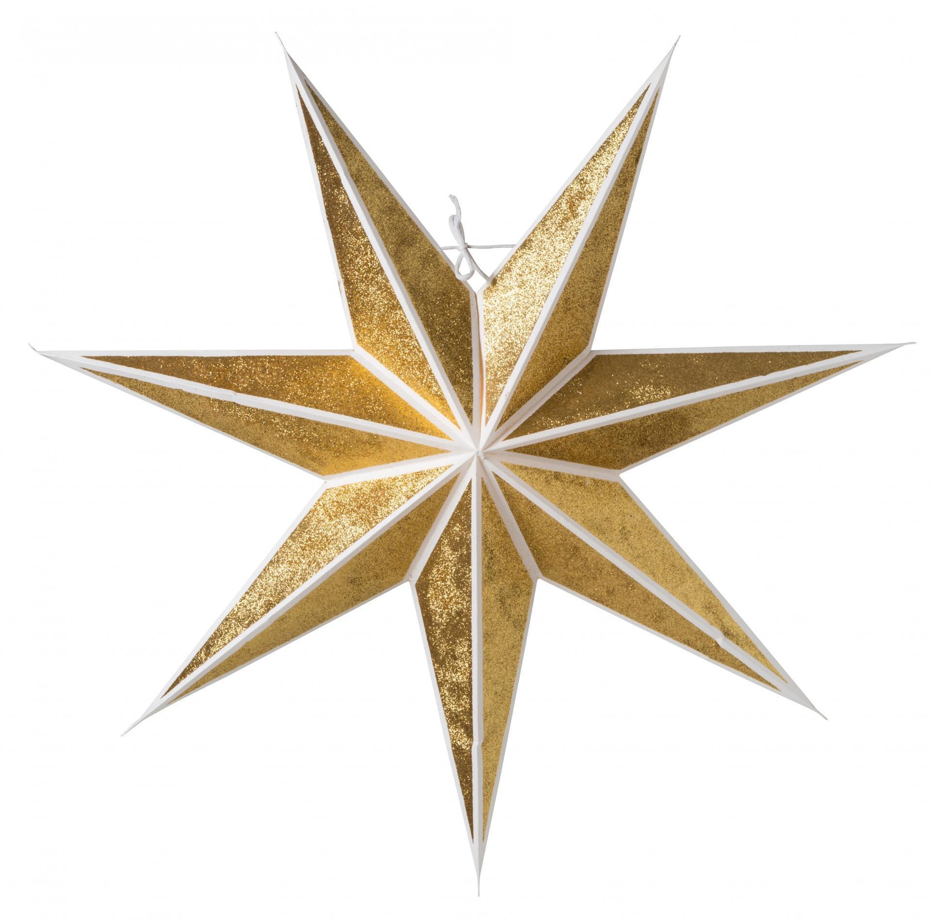 watt & VEKE Závěsná svítící hvězda Kristall Gold 60 cm, zlatá barva, papír