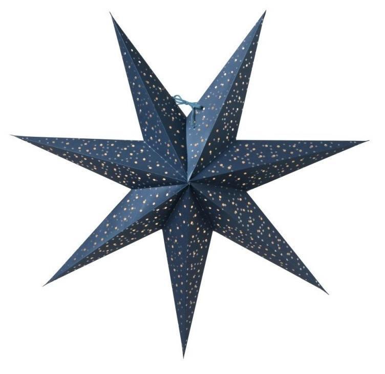 watt & VEKE Závěsná svítící hvězda Helsinki Blue 60 cm, modrá barva, papír