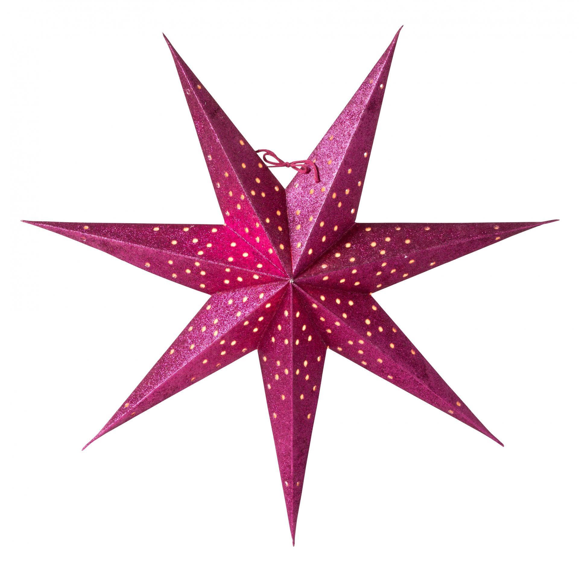 watt & VEKE Závěsná svítící hvězda Donna Cerise 60 cm, růžová barva, papír
