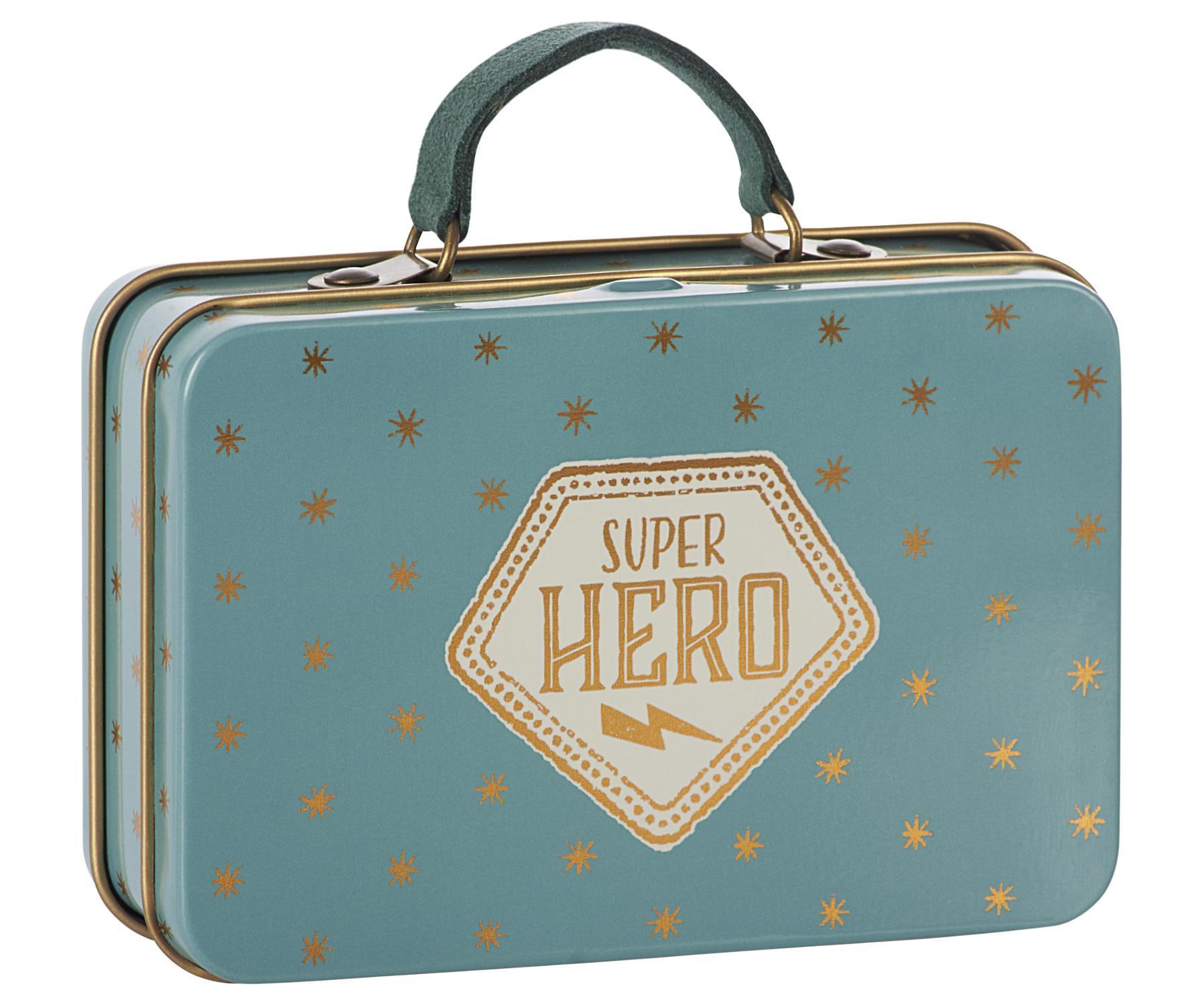 Maileg Plechový kufřík Blue Gold Stars, modrá barva, zlatá barva, kov