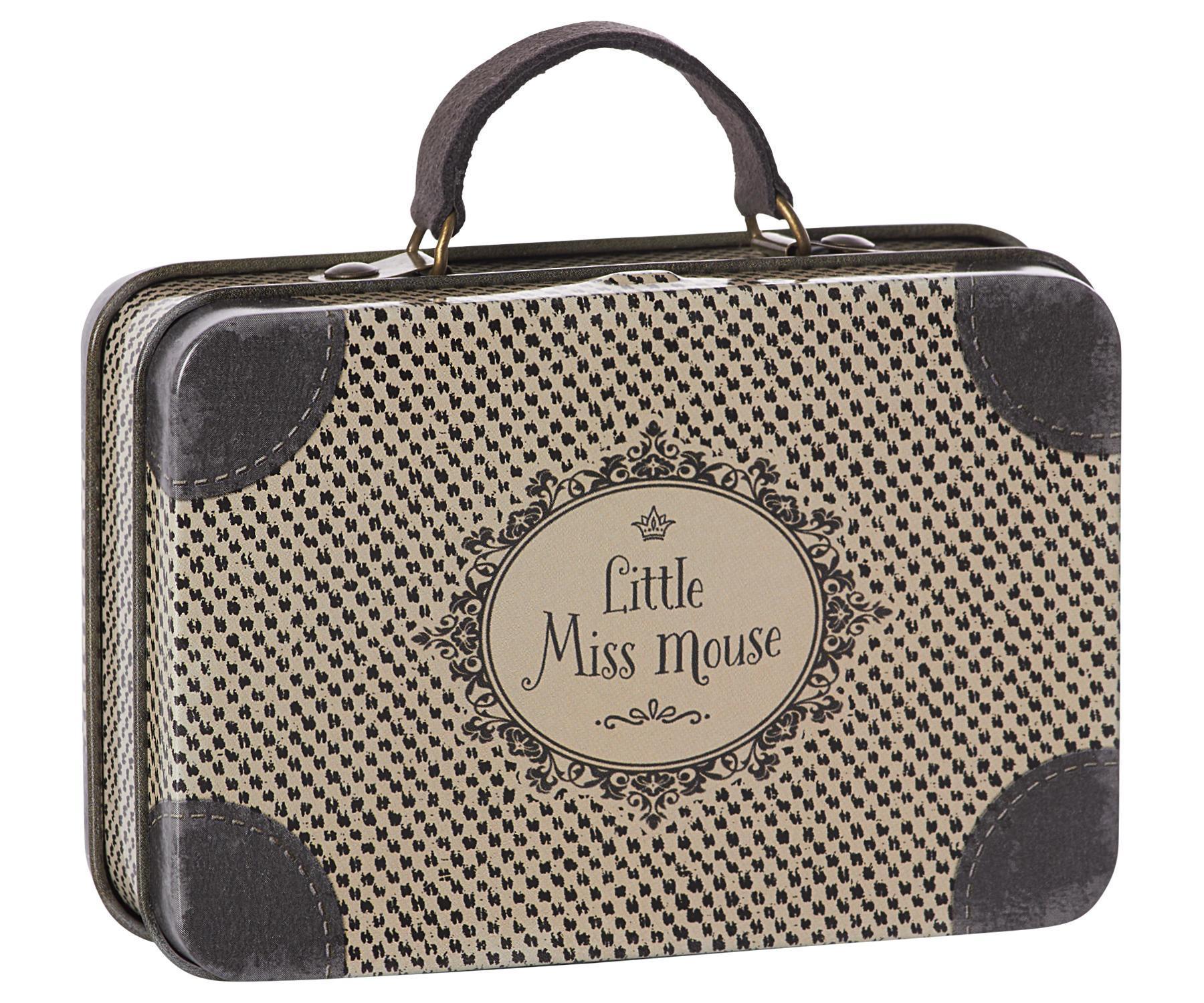 Maileg Plechový kufřík Travel Grey, šedá barva, kov