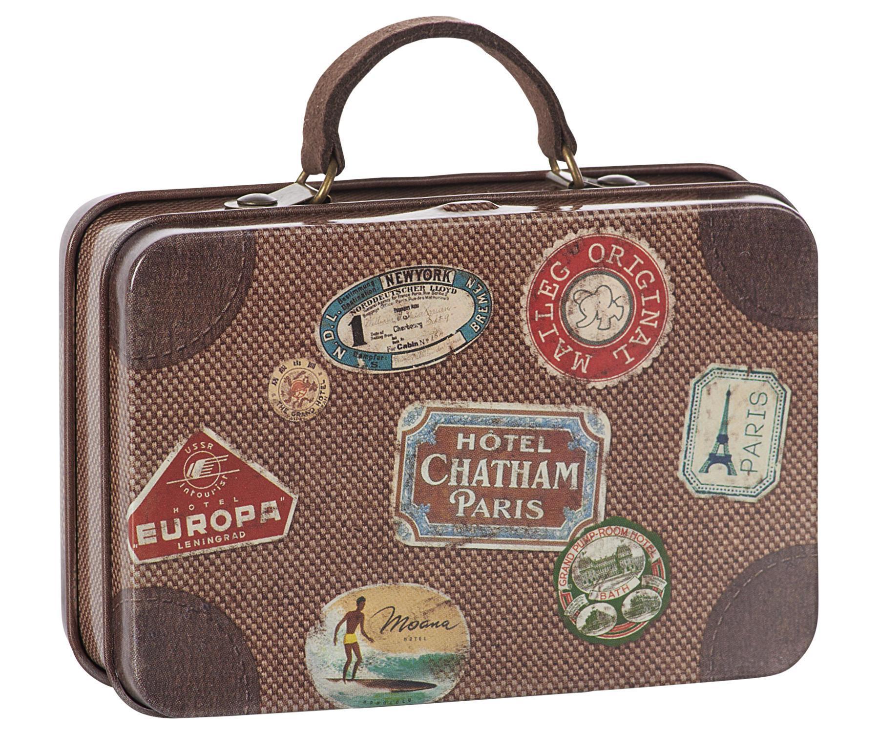 Maileg Plechový kufřík Travel Brown, hnědá barva, kov
