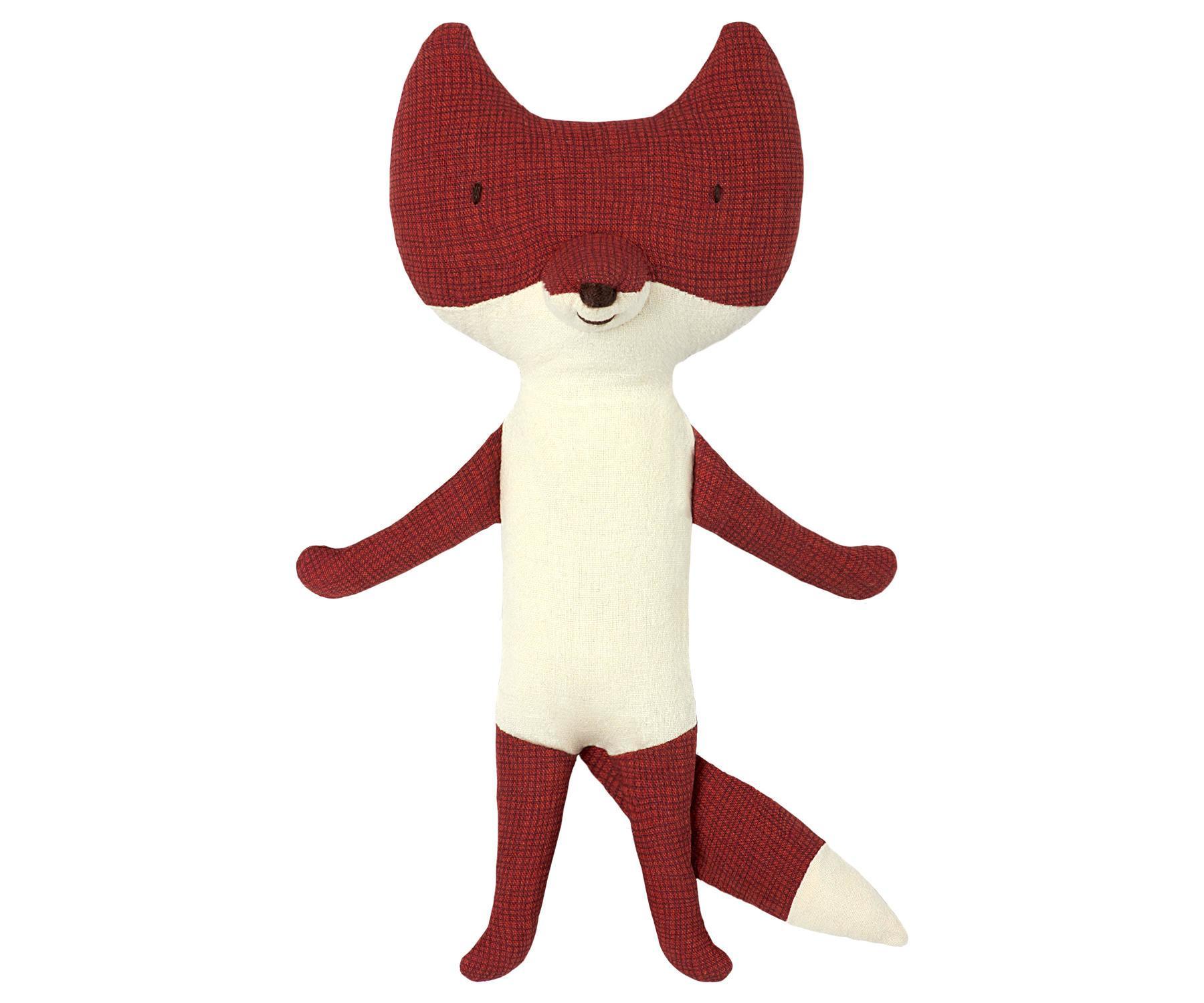 Maileg Textilní liška Fox - Mini, červená barva, textil