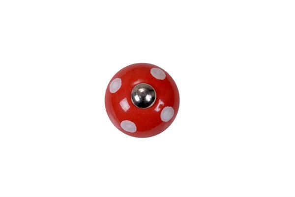 La finesse Porcelánová úchytka Red/white dosts, červená barva, porcelán 50 mm