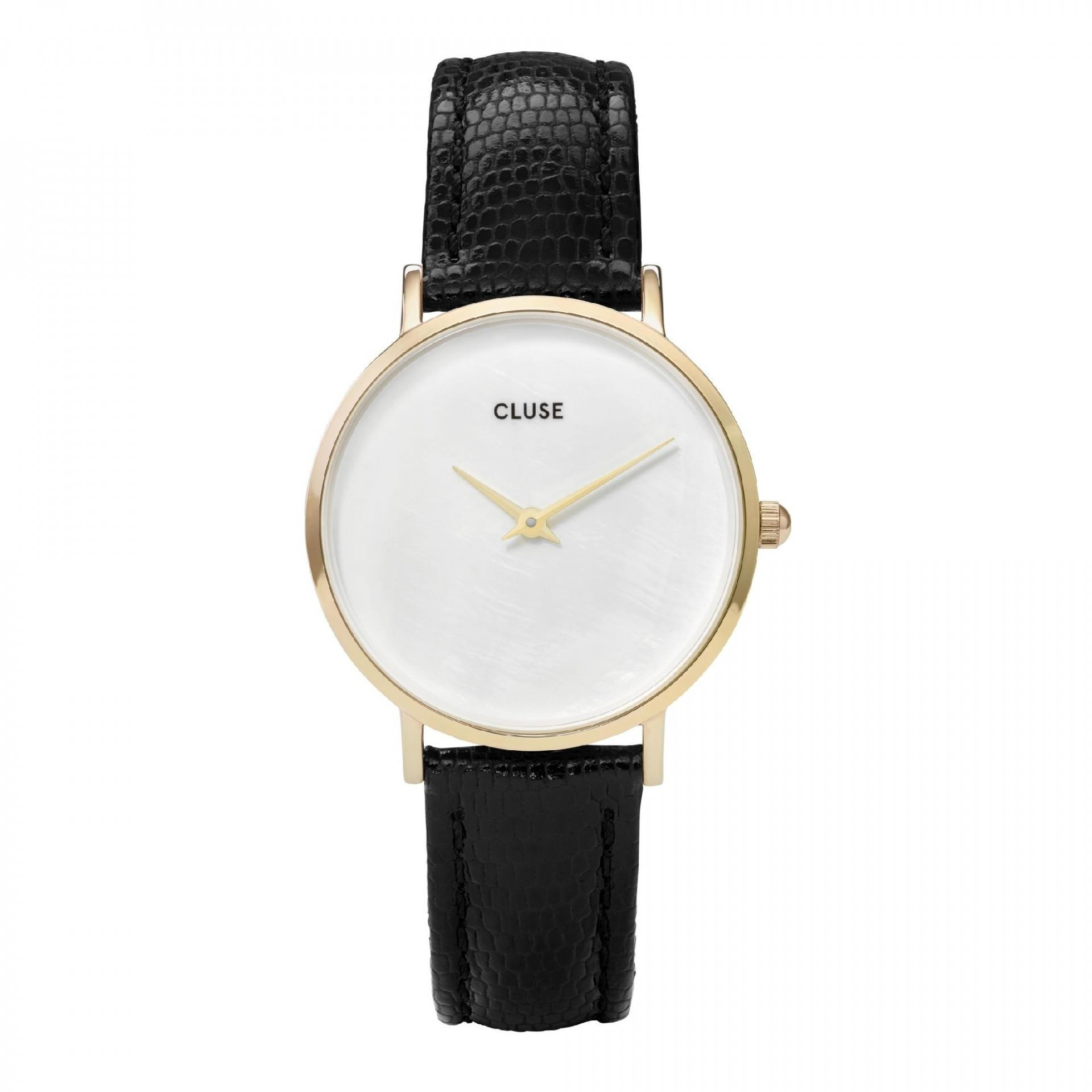 CLUSE Perleťové hodinky Cluse Minuit La Perle Gold White Pearl/Black Lizard, černá barva, bílá barva, zlatá barva, kov, kůže