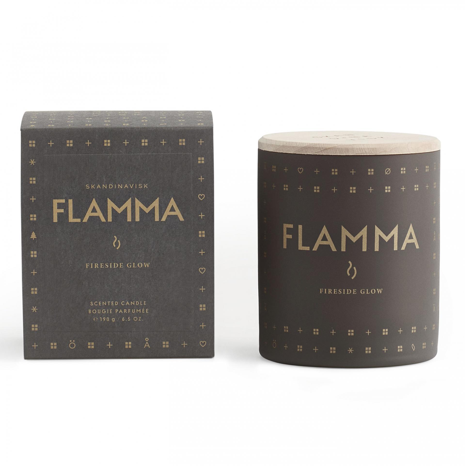 SKANDINAVISK Vonná svíčka FLAMMA (plamen) 190 g, šedá barva, hnědá barva, sklo