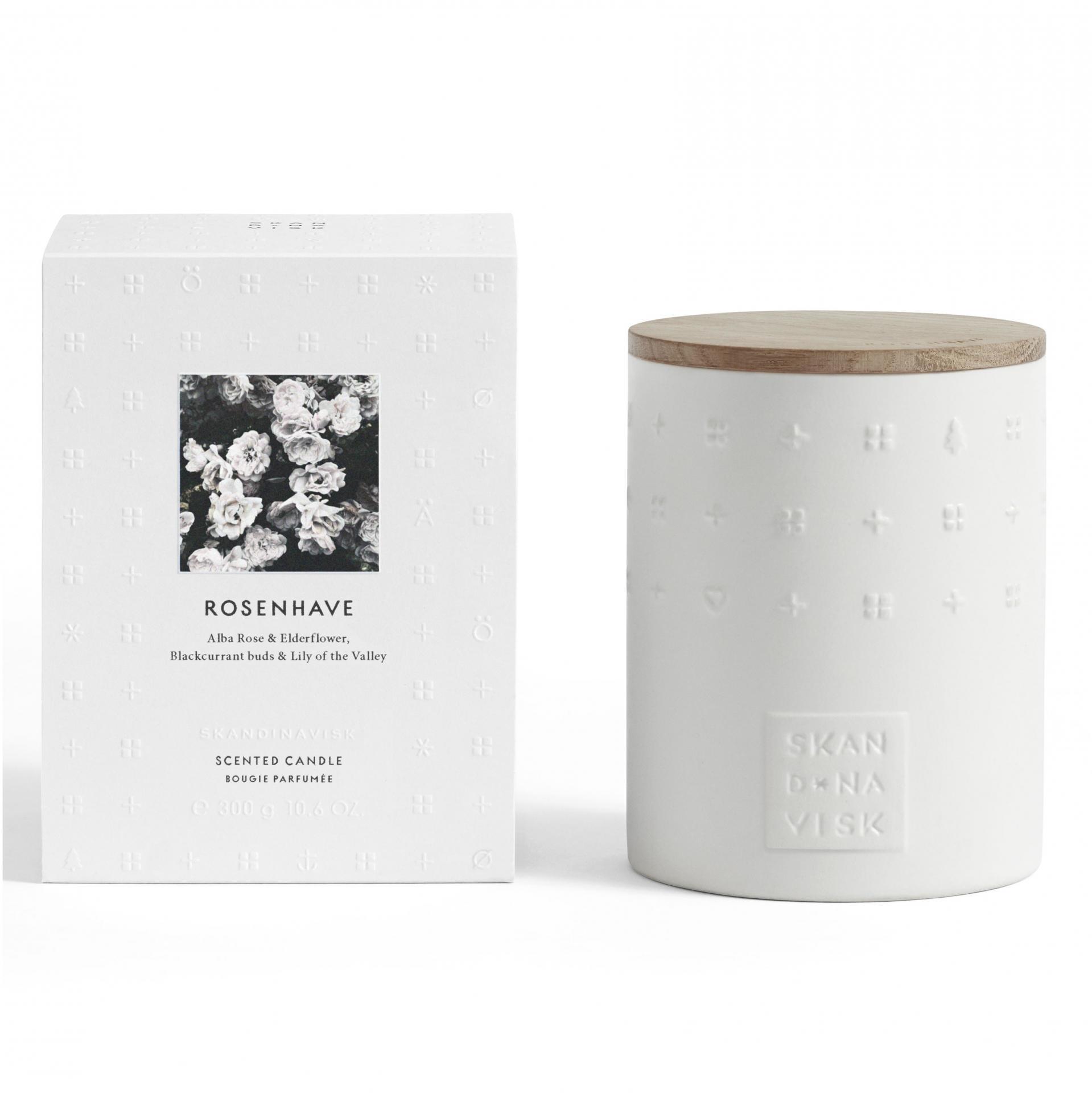 SKANDINAVISK Vonná svíčka ROSENHAVE (růžová zahrada) 300 g, bílá barva, keramika