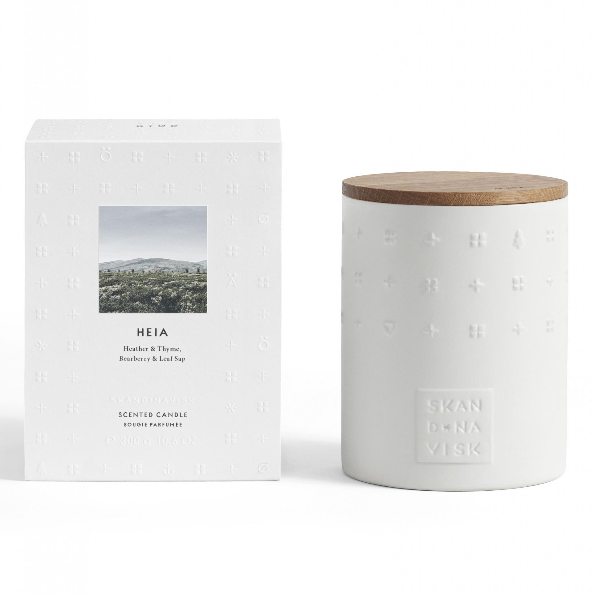 SKANDINAVISK Vonná svíčka HEIA (vřesoviště) 300 g, bílá barva, keramika