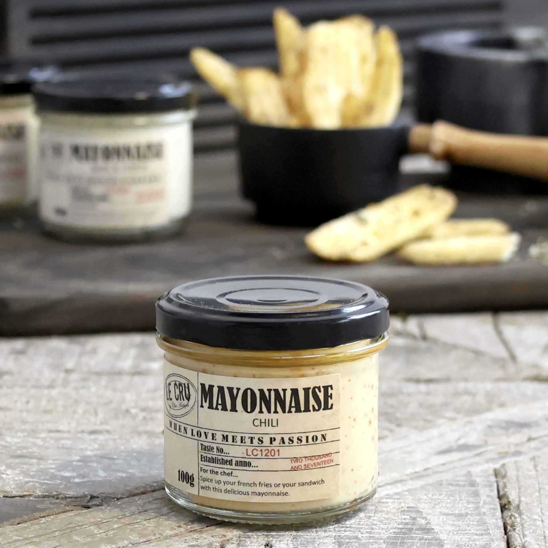 LE CRU Delicacies Majonéza s chilli 110gr, přírodní barva, sklo