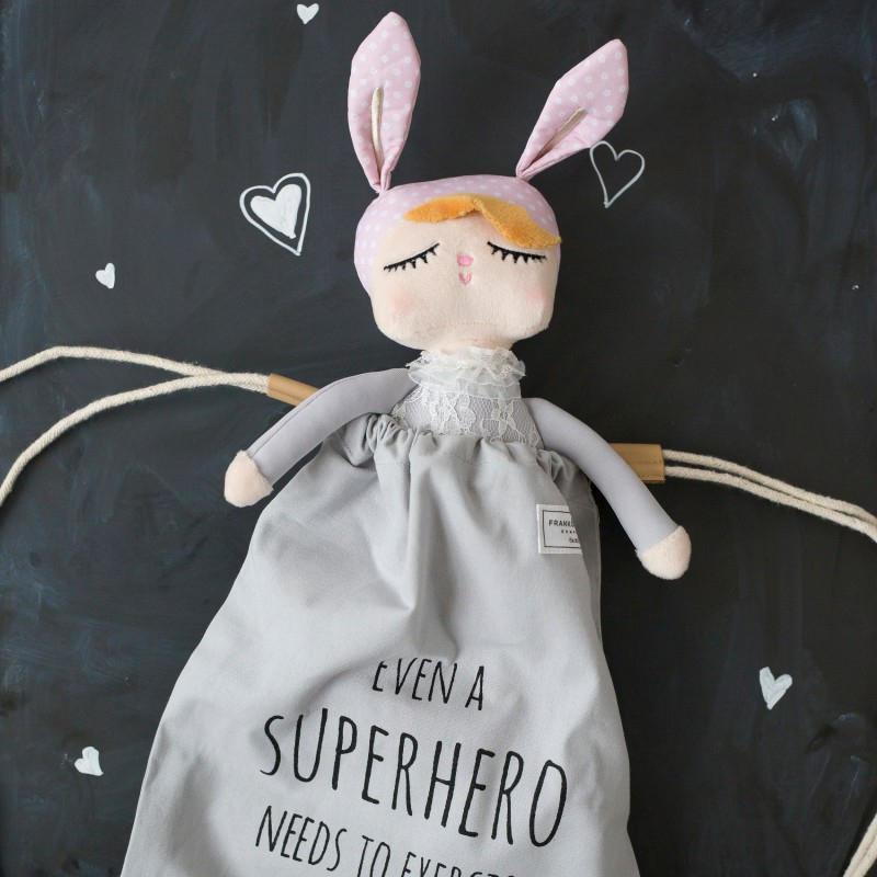 miniroom Králičí panenka Lille Kanin Grey Medium, růžová barva, šedá barva, textil