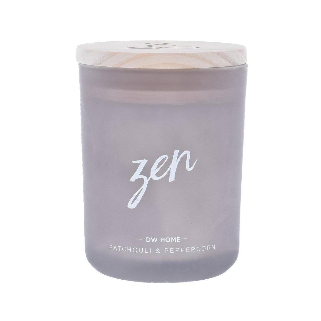 dw HOME Vonná svíčka Yoga - Zen 425gr, šedá barva, sklo, dřevo, vosk