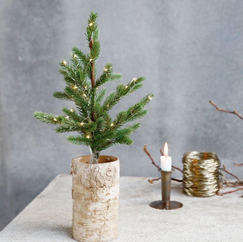 House Doctor Vánoční stromeček se světýlky 44cm, zelená barva, přírodní barva, plast