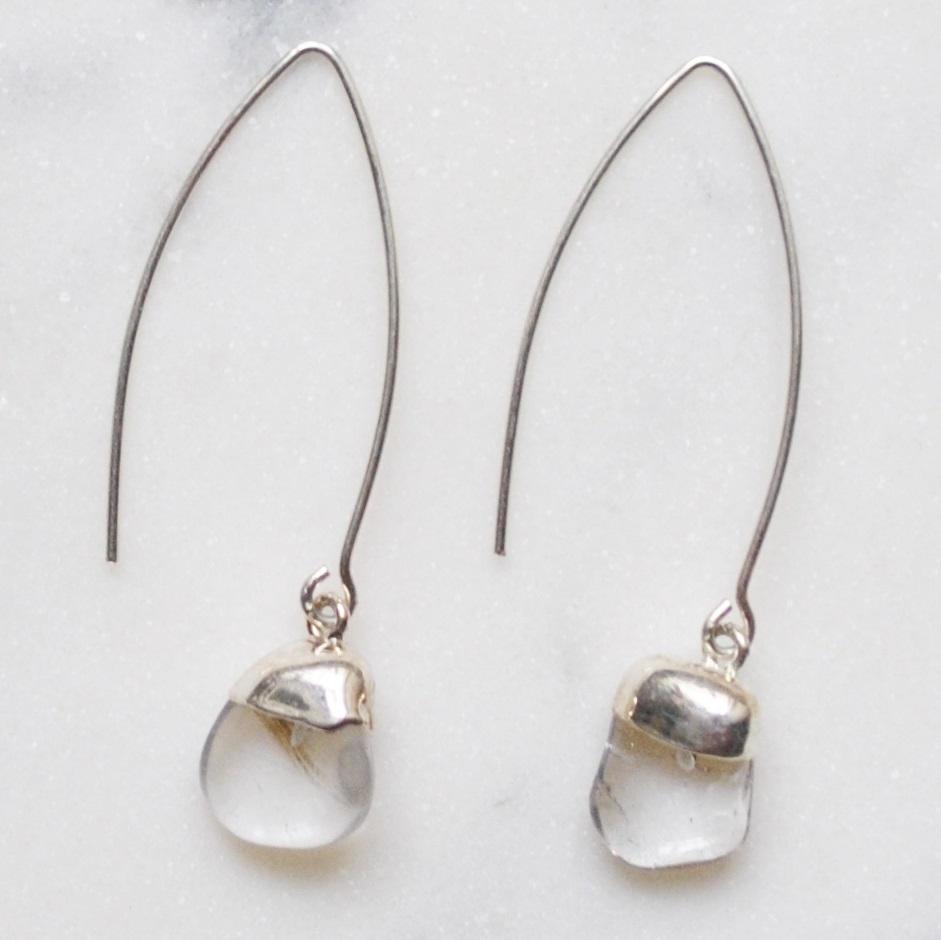 DECADORN Visací náušnice Mini Tumbled Clear Quartz/Silver, stříbrná barva, čirá barva, kov, kámen
