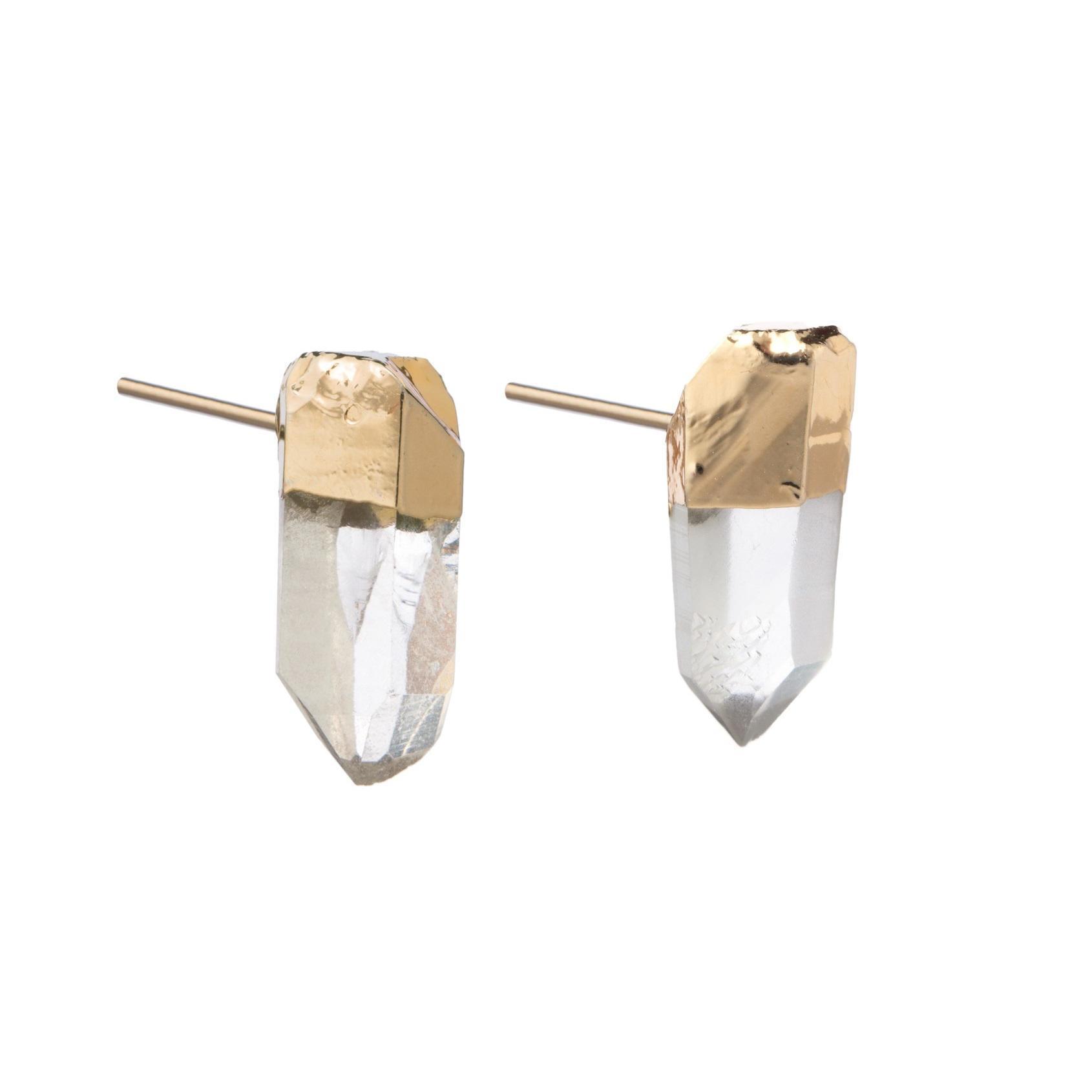 DECADORN Náušnice Mini Raw Point Clear Quartz/Gold, zlatá barva, čirá barva, kov, kámen