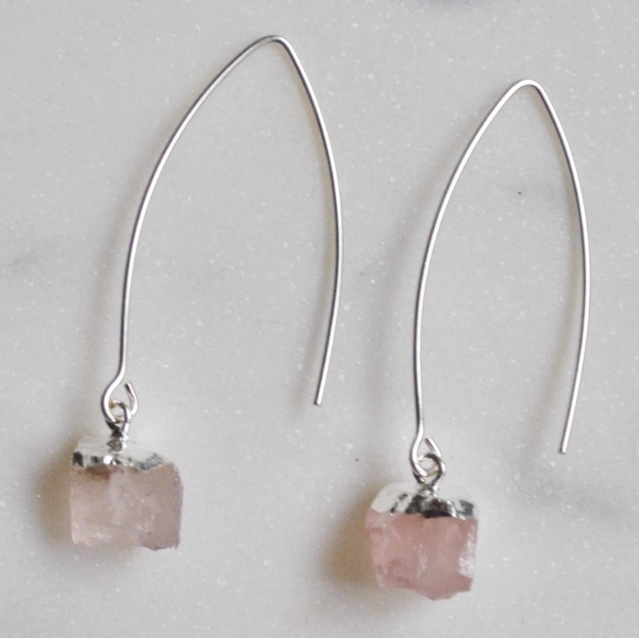 DECADORN Visací náušnice Mini Rose Quartz/Silver, růžová barva, stříbrná barva, kov, kámen