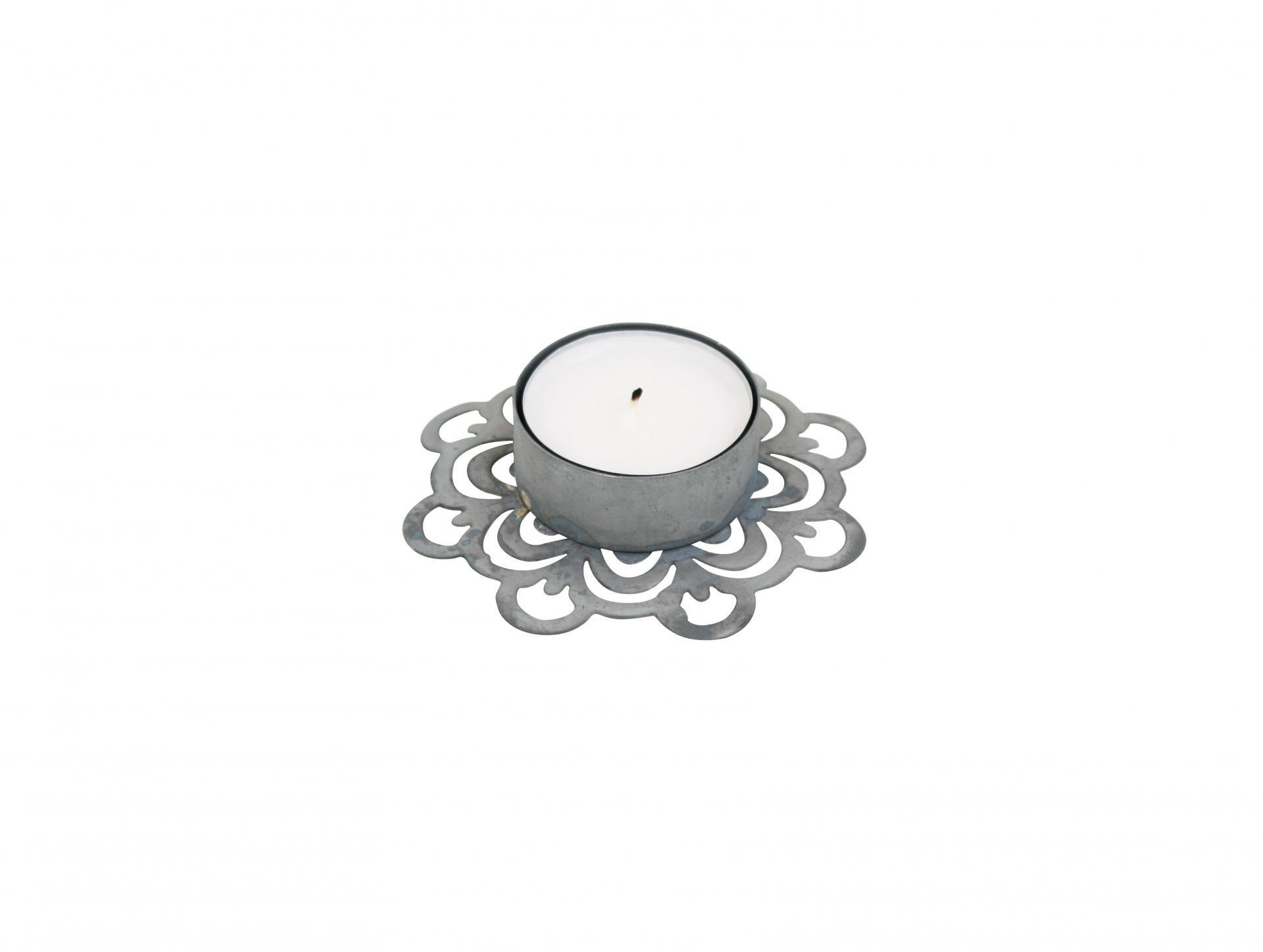 Krasilnikoff Zinkový svícínek Deco Zinc, šedá barva, zinek